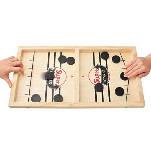 CS COSDDI Fast Sling Puck Game - Funny Wooden Paced Foosball Slingshot Game,Table Desktop Battle Winner Board Games Parent-Child Interactive Toy Party Game for Kids (14.3in x 8.5in)