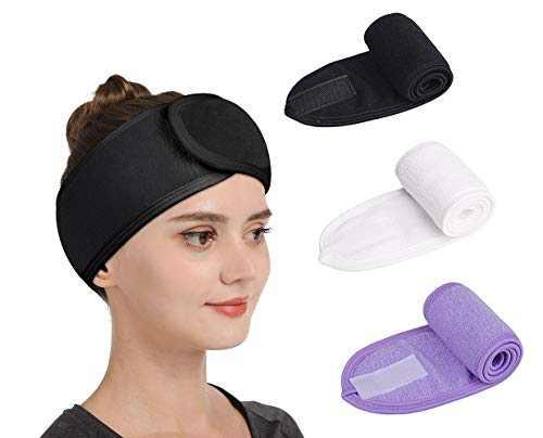 Gnafihz Facial Spa Headband - 3 Pcs Makeup Shower Bath Hair Wrap Sport Headband Adjustable Stretch Sweat Headband with Magic Tape,Fits All