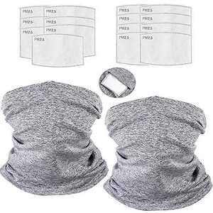 (2PACK+ 15PCS) Seamless Bandana Multi-Purpose Neck Gaiter Women Men for Hiking Fishing Outdoor