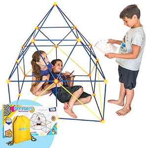 Fort Building Kit for Kids for Boys and Girls - 90 Pieces, Indoor Construction Set with Building Sticks, Connector Spheres, Bag, Gift Box & Guide for STEM Education for Building Castles and Tents