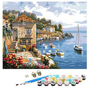 "DIY Paint by Numbers for Adults Beginner Kids Acrylic Painting Kit,16"" x 20"" Harbor Pattern with 3 Paint Brushes Canvas Painting by Numbers for Home Decoration"