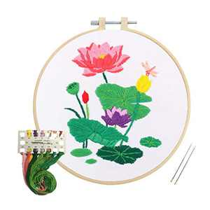 Louise Maelys Embroidery Kit for Beginners Lotus Flower Pattern Cross Stitch Kits Handmade Needlepoint Kit for Adults