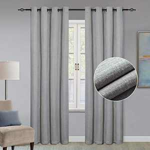 GRALI Checkered Textured Gray Curtains, Faux Linen Drapes for Living Room / Guest Room, Window Dressing & Room Darkening, W52 x L95, 2 Pieces