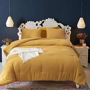 Wellboo Mustard Yellow Comforter Sets Queen Solid Color Bedding Women Girls Dark Yellow Comforters Full Adult Teens Pure Deep Yellow Quilt Lightweight Durable Blankets Ginger Yellow Breathable Soft