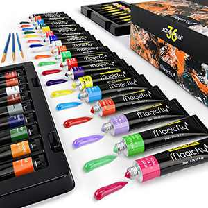Magicfly Acrylic Paint, Set of 36 Tubes (22ml/0.74 oz.), Premium Acrylic Paints for Artist with Acrylic Medium, Non Fading, Rich Pigments Acrylic Paints set with 3 Brushes for Hobby Painters, Ideal for canvas Painting
