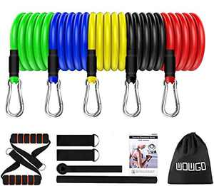 WOWGO Exercise Resistance Bands Set - Fitness Stretch Workout Bands with 5pc Fitness Tubes, Foam Handles, Ankle Straps, Door Anchor for Men Women, Your Home Gym