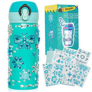 Beewarm Gift for Girls Age 5 6 7 8 9 10 12, Decorate Your Water Bottle with Tons of Stickers - DIY Craft Kits for Teens Girl - 12 OZ BPA Free Stainless Steel Insulated Mug (Baby Girl Blue)