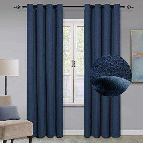 """GRALI Blackout Curtains with Grommet Top, Checkered Textured Curtain Blinds Thermal Insulated Panels for Indoor Hall, 52"""" x 84"""", 1 Pair, Classic Blue"""