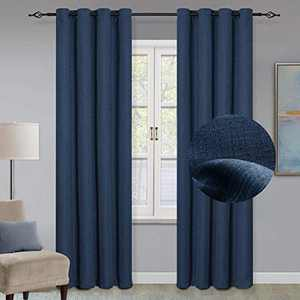 "GRALI Blackout Curtains with Grommet Top, Checkered Textured Curtain Blinds Thermal Insulated Panels for Indoor Hall, 52"" x 84"", 1 Pair, Classic Blue"