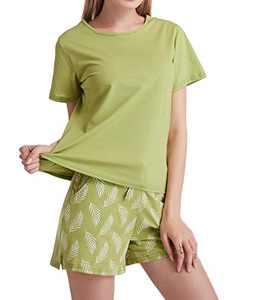 Cindyouth Pajama Sets Womens Cotton Solid Color Short Sleeve Tee and Shorts Sleepwear Loungewear S-XXL Green