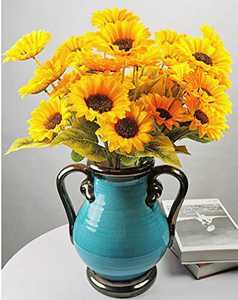 5 Bunches Artificial Sunflower Bouquet Silk Sunflowers Floral Arrangement Faux Sunflower Bouquet for Home Wedding Decoration