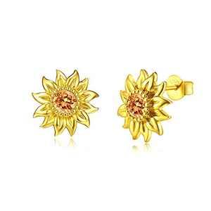Klurent Sunflower Stud Earrings for Women 925 Sterling Silver Girls Hypoallergenic Flower Stud Earrings, Christmas Jewelry Gifts for Girls Women