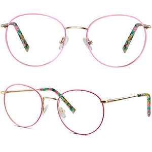 Blue Light Blocking Glasses for Women Teens,Round Metal Anti Bluelight Glasses,Computer Gaming/TV/Phones Anti Eyestrain Frames(Pink)
