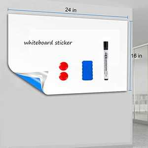 Soffiya White Board Sticker, 16''24'' Whiteboard Paper, Dry Erase Board Self Adhesive Paper Roll for School/Office/Kids Drawing, with 1 Eraser, 1 Marker, 2 Magnets