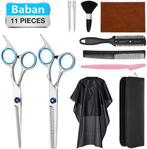Hair Cutting Scissors Set, Baban 11Pcs Professional Hair Cutting Kit with Hair Cutting Cape, Thinning Shears, Comb, Barber Scissors Kit Rust Resistant Hairdressing Scissor for Men & Women, Home, Salon