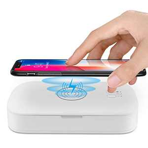 Ikeepi Cell Phone Soap Phone Box, Cell Phone Cleaner 15W Fast Wireless Charger, Multi-Functional Storage Box with Makeup Mirror & Aromatherapy for Mobile Phone Makeup Tools Toothbrush Jewelry Watches