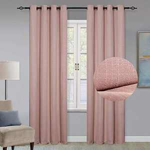 GRALI Thermal Insulated Blackout Curtains, Room Darkening Checkered Textured Drape Panels for Living Room/Dining Room, W52 by L84, 2 Pcs, Blush Pink