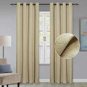 """GRALI 84-inch Long Light Reducing Curtains, Window Decoration Checkered Textured Draperies Grommet Drapes for Sliding Door, 52"""" Wide, 1 Pair, Linen Color"""