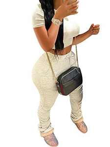 Women Casual 2 Piece Outfits Tie Dye Print Jogging Suit Crop Top Drawstring Ruching Long Pants Tracksuit Set Beige