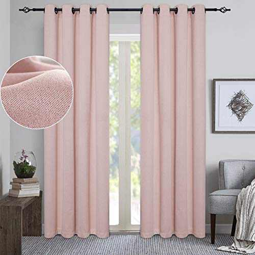 GRALI Blackout Curtain Panels, Light Blocking Noise Reducing Thermal Insulated Tweed Textured Drapes for Livingroom (2 Pcs, 52 Inch by 84 Inch, Blush Pink)