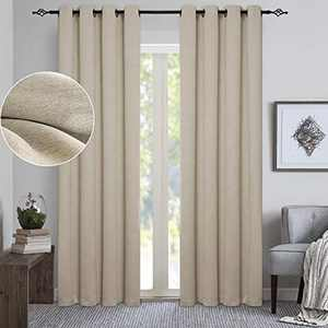"""GRALI Chambray Window Decoration Curtain Drapes for Bedroom / Villa / Apartment, Room Darkenning & Thermal Insulated, 52""""x 95"""", 2 Pcs, Beige"""