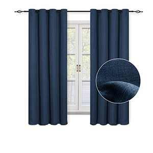 "GRALI 63"" Length Classic Blue Curtains, Home Decor Checkered Textured Thermal Insulated Grommet Blackout Drapes for Baby Room, 52"" Wide, 2 Pcs"