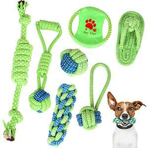 Dog Rope Toys Yooumoga 7Pcs Dog Toy for Small to Medium Dogs, Puppy, and Pets - as Aggressive Chewers for Dog Toys - Dog Training - Dog Teething Cleaning