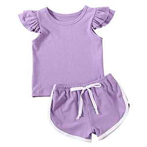 Toddler Baby Girl Summer Clothes Infant Outfits Top Shirt + Drawstring Shorts Sets 2 Pcs Pants Sets (Light Purple, 12-18Months)