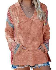 Yacooh Womens Baja Lightweight Beach Hoodie Boho Mexican Striped Sweaters Drawstring Hooded Sweatshirts with Pocket