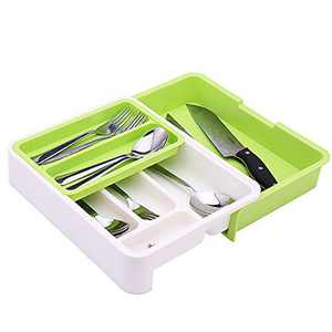 Soffiya Kitchen Flatware Drawer Organizers, Expandable Adjustable Drawer Dividers Organizer Tray with 7 Compartments for Cutlery, Silverware, Flatware, Knives (green)