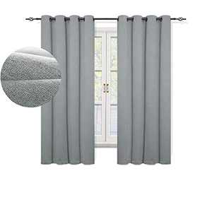 GRALI Energy Saving 99% Blackout Curtains,Heavy Weight Draperies with Modern Grommet Top, Tweed Thermal Insulated Panels (Set of 2, 52 by 63 Inch,Grey)