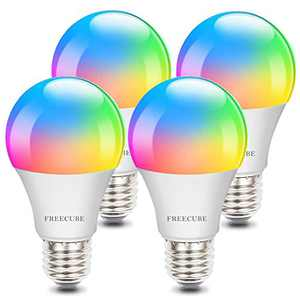 Smart Light Bulbs, Alexa Light Bulb E26 8W Dimmable RGBW Color Changing Light Bulb Work with Alexa & Google Home, Led WiFi Bulb No Hub Required, 2.4GHz WiFi Only, 4 Pack