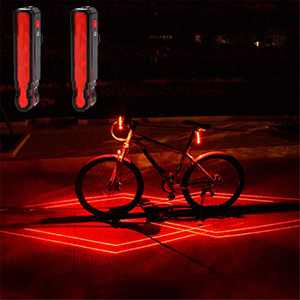 VASTFIRE Laser Tail Bike Light Flashing for Daytime or Night Riding USB Rechargeable LED Cycle Rear Light Pack Include 2