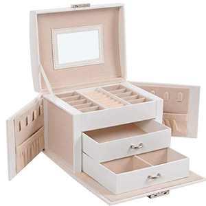 SONGMICS Jewelry Box, Travel Jewelry Case, Compact Jewelry Organizer with 2 Drawers, Mirror, Lockable with Keys, 6.9 x 5.3 x 4.7 Inches, Gift Idea, White UJBC154W01