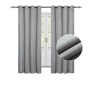 "GRALI Grey Plaid Blackout Curtains, Checkered Textured Blind Panels with Grommet, Room Darkening Window Drapes for Bedroom (1 Pair, 52""x 63"" per Piece)"