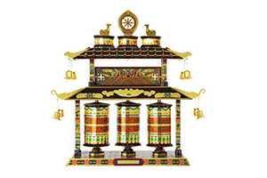 Microworld Tibet Prayer Wheel 3D Metal Puzzle Jigsaw Laser Cut Brain Teaser DIY Model Building Kits Toys J051