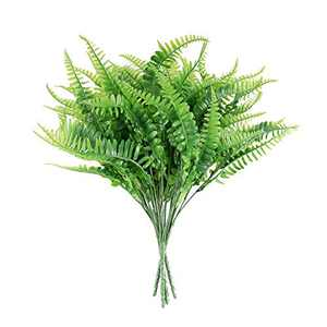 Artificial Boston Fern Plants Bush Outdoor UV Resistant Greenery Plastic Shrubs Hanging Planter for Home Garden Decor (4 Bunches)
