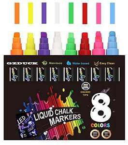 GZDUCK Chalk Markers,Liquid Chalk Markers Kit Multiple Colors Erasable Dry Erase Marker Pens Square Tips Brush Tips for Glass Blackboard Windows