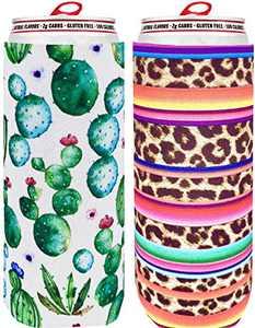Skinny Can Cooler [ 2 Pack ] Slim Can Cooler for Slim Beer & Hard Seltzer, Skinny Beer Cans Coolie Skinny Insulators, Can Cooler Sleeve Cactus