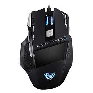Gaming Mini Mouse Wired, USB Optical Computer Mice with 7 Programmable Buttons, 4 Adjustable DPI Up to 4800, Ergonomic Gamer Laptop PC Mouse with RGB Backlit for Windows 7/8/10/XP Vista Linux - Black