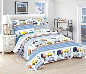 3 Pieces Kid's Cartoon Cars Lightweight Summer Quilt Set Coverlet Set with Pillow Shams(Twin 68x86 Inches),Urban Traffic Lights Bus Van Bedspread Bedding Sets for Boys (Twin,Multi-Color Cars)
