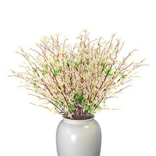 Beferr Artificial Winter Jasmine Bouquets Long Stem Real Touch Fake Flowers 2 Pcs for Indoor Outdoor Wedding Party Home Office Patio Yard Decor (White)