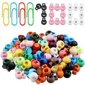 100 Pieces Colorful Plastic Cord Locks Round Spring Toggle Stopper Slider Cord Lock Ends Single Hole Backpack Luggage Lanyard Stopper Sliding Fastener Buttons with 20 Pieces Mixed Color Paper Clips