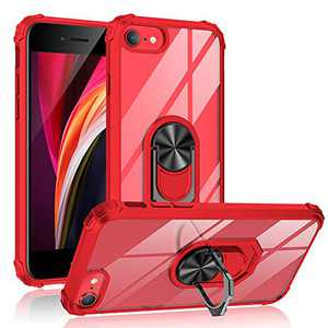 ABenkle iPhone SE 2020 Case, iPhone 7/8 Grip Holder Stand Case with Built-in Iron for Car Mount, Military Grade, Crystal Clear Back Shockproof Hybrid Protective Bumper Cover for iPhone 7 and 8, Red