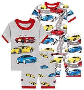 Boys Cars Pajamas Children Cotton Summer Pjs Toddler Kids 4 PCs Clothes 7t