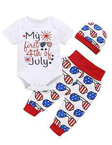 TrulyBee Baby Boys My First 4th of July Bodysuit Infant Independence Day Outfit Set (White,3-6 Months)