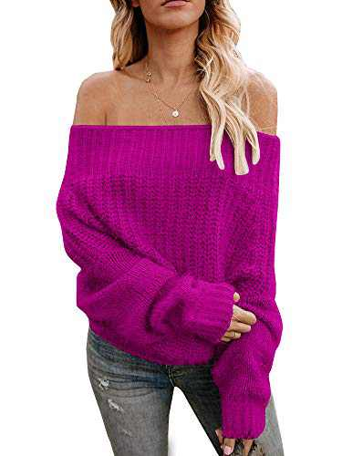 Women's Boho Off The Shoulder Pullover Sweaters Casual Loose Fit Cable Knit Oversized Jumpers Tops Rose