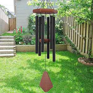 Howarmer Small Wind Chimes for Outside, 28 Inches Wind Chimes Outdoor Tuned Soothing Melody, Sympathy Wind Chimes for Mom/Housewarming, Black Wind Chimes Outside Decoration.