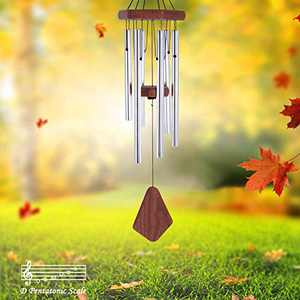 Howarmer Small Wind Chimes Outdoor, 28 Inches Wind Chimes Outdoor Tuned Soothing Melody, Memorial Wind Chimes for Mom/Housewarming, Wind Chimes Outside Decoration. Silver