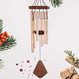 Howarmer Small Wind Chimes Outdoor, 28 Inches Wind Chimes Outdoor Tuned Soothing Melody, Memorial Wind Chimes for Mom/Housewarming, Wind Chimes Outside Decoration. Rose Gold